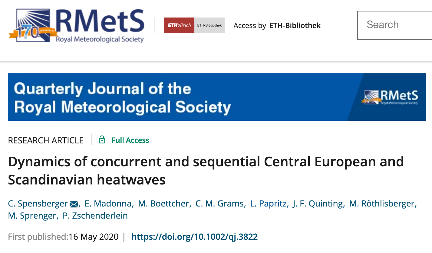 New paper on concurrent and sequential Scandinavian and Central European heatwaves with INTEXseas co-authors